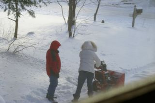 G teaching Meg how to blow snow